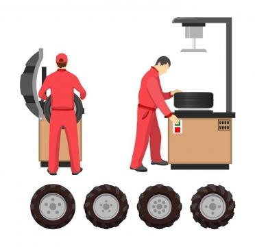 两名汽修工人正在更换轮胎png图片免抠矢量素材