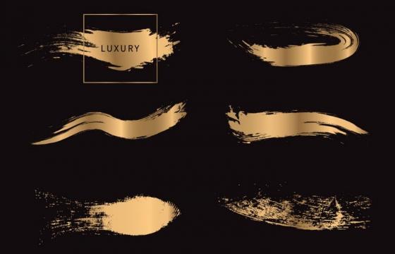 金色金属光泽纹理笔刷涂鸦图片免抠素材