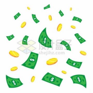飘落的金币雨和美元钞票556176png图片素材