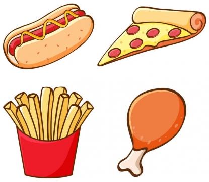 热狗披萨薯条和鸡腿等卡通西餐美食图片免抠矢量图素材