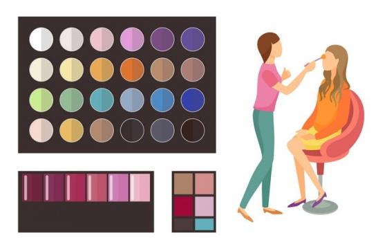 正在化妆的扁平化美女和各种调色板图片免抠矢量素材