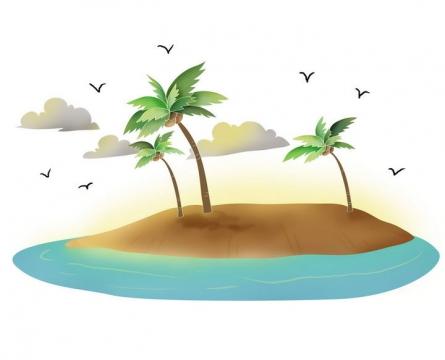 手绘风格被蓝色海水包围的热带海岛椰子树风景图片免抠素材
