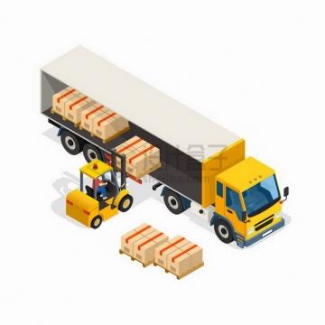 2.5D风格叉车正在搬运货物到黄色卡车中物流快递行业png图片免抠矢量素材