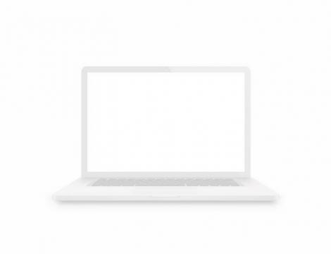 空白的白色笔记本电脑正面图png图片免抠矢量素材