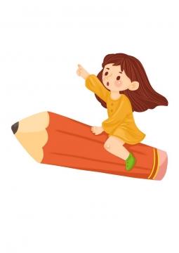 可爱卡通女孩坐在铅笔上飞行儿童节图片免抠素材