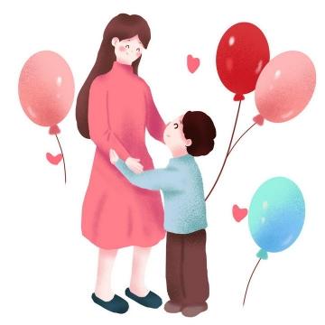 手绘风格气球装饰母亲节母子图片免抠素材