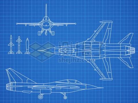 白色线条飞机战斗机设计图纸蓝图675781 png图片素材