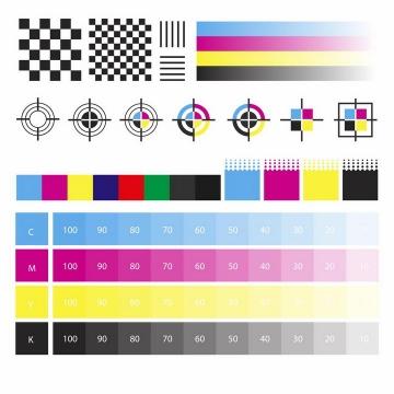 CMYK色值卡校准颜色灰度测试图png图片免抠eps矢量素材