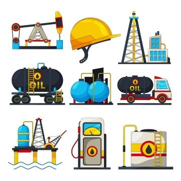 9款卡通风格石油生产工业配图图片免抠矢量素材