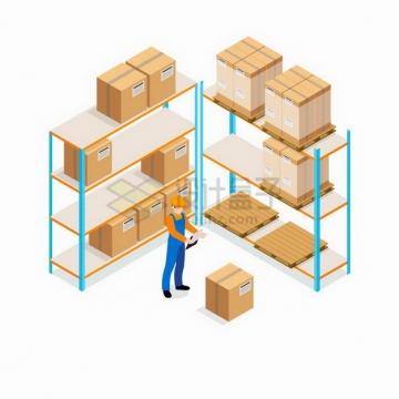 2.5D风格工人在核对货架上的货物物流快递行业png图片免抠矢量素材