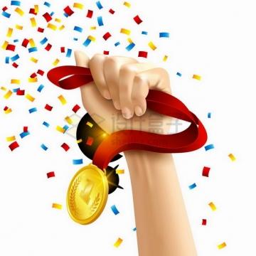 一只手抓着第一名金牌奖牌的绳子和碎纸屑撕纸撒花效果png图片素材
