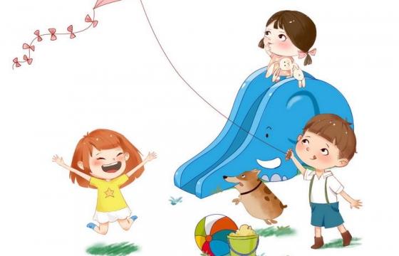 可爱卡通风格正在玩耍的孩子六一儿童节图片免抠素材