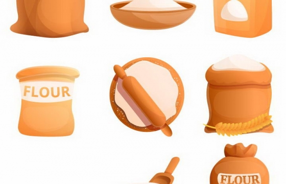 9款精美的小麦面粉免抠png图片矢量图素材
