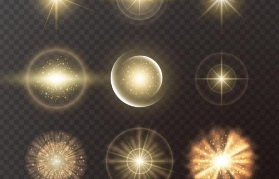 9款金色星光光晕发光效果图片免抠矢量图素材