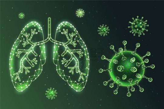 绿色发光线条组成的新型冠状病毒和肺部组织png图片免抠矢量素材