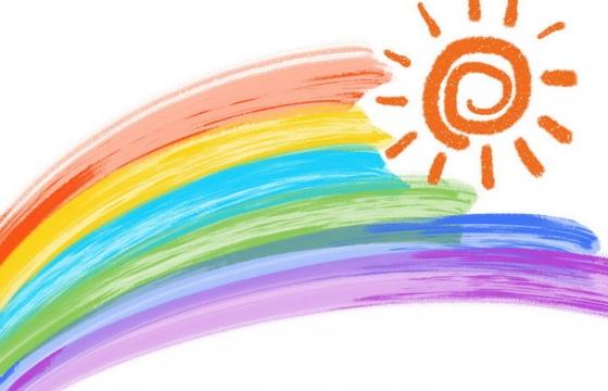 手绘涂鸦风格太阳和七彩虹图案图片免抠素材
