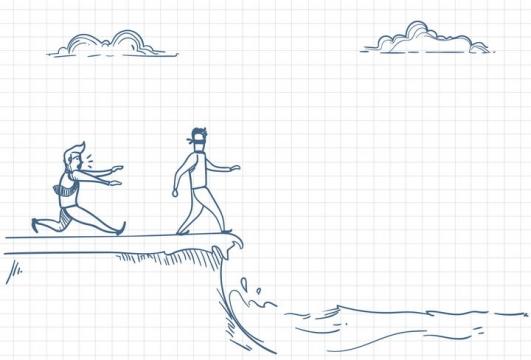 圆珠笔画涂鸦风格拯救蒙眼要掉进水中的同事职场人际交往配图图片免抠矢量素材