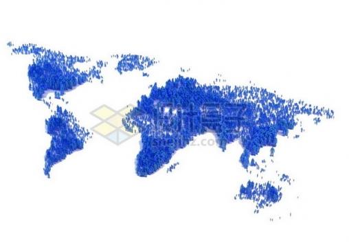 蓝色的一群人组成的世界地图图案人口日534763png图片素材