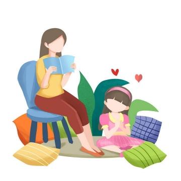 手绘插画风格陪女儿读书的年轻妈妈母亲节图片免抠素材