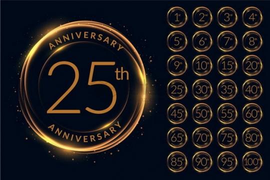 金色发光圆圈十周年一百周年纪念数字字体png图片素材