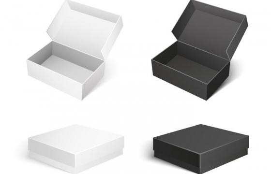 白色和黑色的包装盒子图片免抠矢量素材