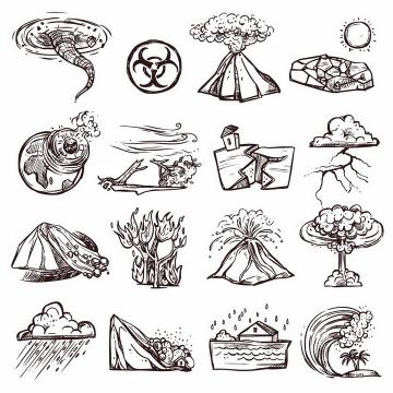 16款手绘素描风格龙卷风火山喷发干旱陨石撞击台风地震山体滑坡森林火灾海啸洪水等自然灾害png图片免抠矢量素材