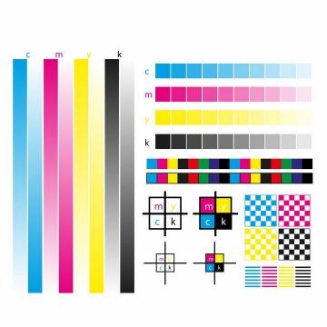 CMYK色值卡校准颜色亮度灰度测试图png图片免抠eps矢量素材
