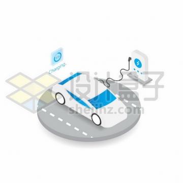 2.5D风格使用充电桩的电动汽车225591png图片素材