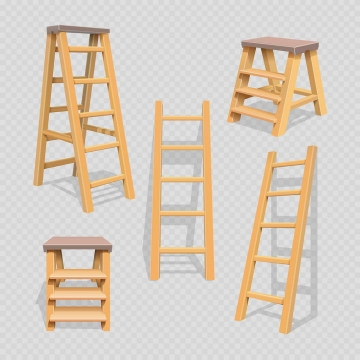 5款不同形状的木质梯子扶梯免抠矢量图片素材