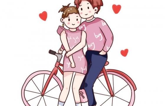 手绘粉色风格依偎在自行车旁的情侣情人节图片免抠素材
