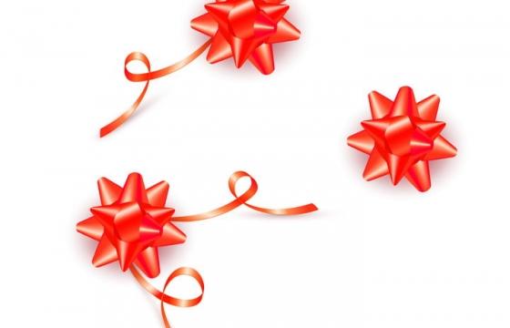 红色星星礼盒礼品包装带彩带装饰图片免抠素材