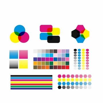 各种CMYK色值卡校准颜色测试模式png图片免抠eps矢量素材