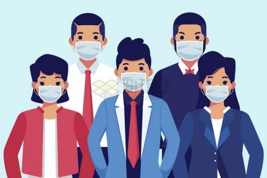 预防新型冠状病毒佩戴一次性医用口罩的卡通商务人士png图片免抠矢量素材