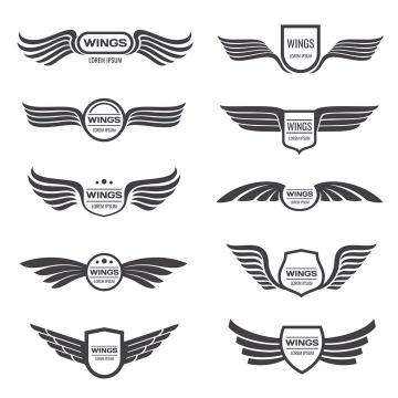 10款复古徽章翅膀矢量标志图片免抠素材