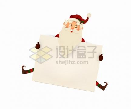 卡通圣诞老人拿着一个空白的文本框png图片素材