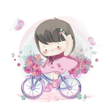 彩绘正在骑自行车的卡通小女孩图片免抠素材