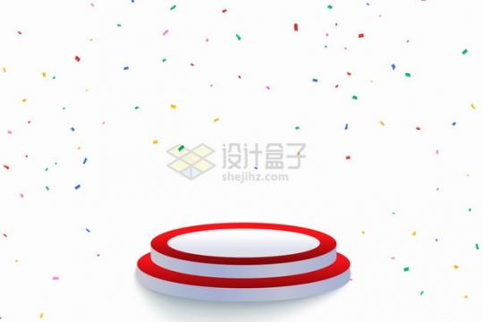 红色白色圆形台阶展台和彩色撒花效果png图片素材