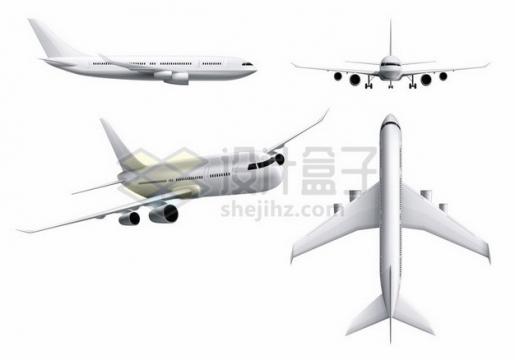 银白色大型客机飞机四视图941225 png图片素材