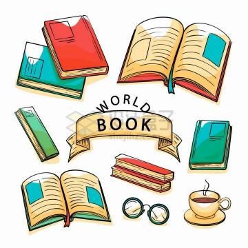 各种翻开的书本世界读书日彩绘插画png图片免抠矢量素材