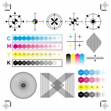 各种CMYK色值卡校准颜色图案测试图png图片免抠eps矢量素材
