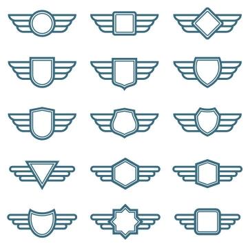 15款简约风格的徽章标签翅膀矢量图标志图片免抠素材