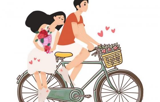 手绘插画风格正在骑自行车的情侣情人节图片免抠素材
