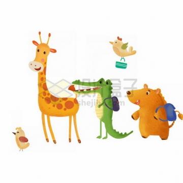 超可爱的卡通小鸟长颈鹿鳄鱼狮子等六一儿童节插画png免抠图片素材