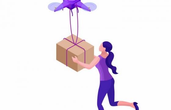紫色无人机送货快递物流png图片免抠矢量素材