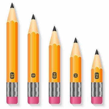 带橡皮的橙色2H/HB/2B铅笔png图片免抠矢量素材
