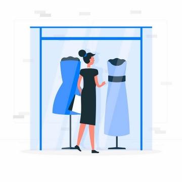 扁平插画风格正在商场挑选衣服的女人png图片免抠矢量素材