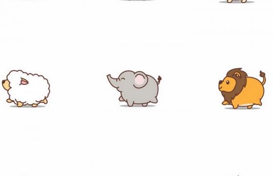超可爱胖胖的卡通小熊小狗小羊小象小狮子小牛小虎等动物png图片免抠矢量素材