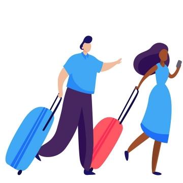 扁平插画风格拖着行李箱奔跑的男女png图片免抠矢量素材