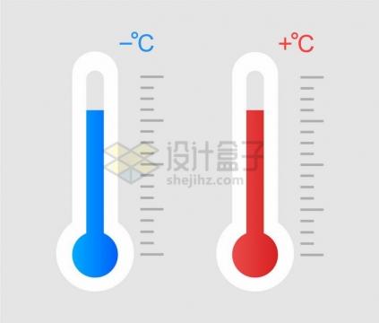 扁平化风格高温和低温两种温度计图案png图片免抠矢量素材