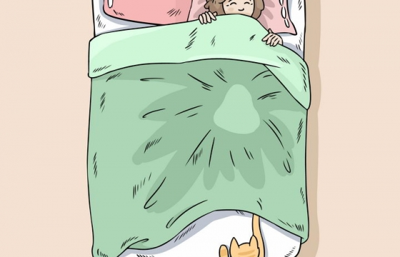 卡通猫咪喊你起床早上好赖床不想起床图片免抠素材